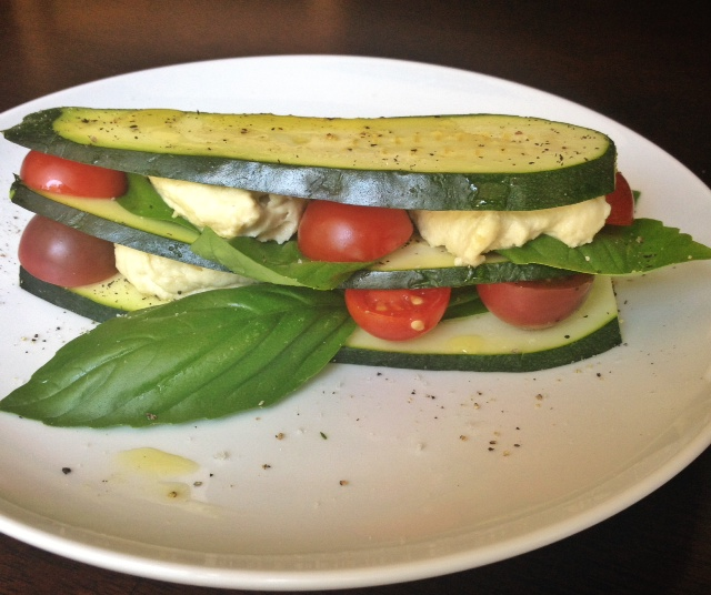 Zucchini, Tomato and Cashew Cream Stack (3)