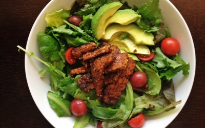 Recipe: Sweet and Smoky Tempeh, Avocado and Cherry Tomato Salad