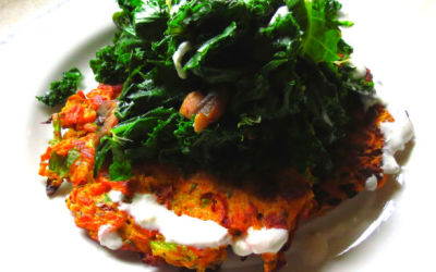 Carrot Pancake with Feta Cream