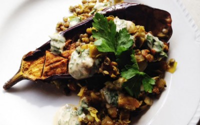 Recipe: Roasted Eggplant with Lentils and Tahini