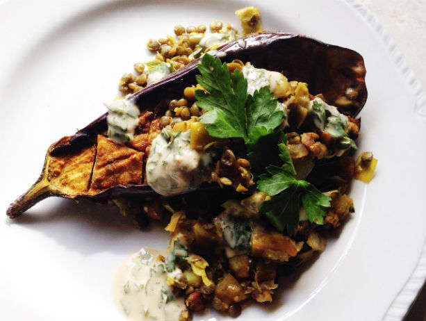 Recipe: Roasted Eggplant with Lentils and Tahini (4)