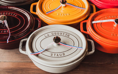 A collection of Staub Dutch ovens