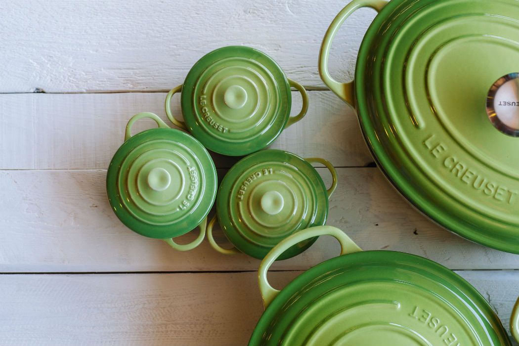 Le Creuset Dutch Ovens in green